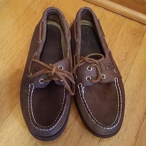 Mens Sperry Top slider brown leather boat shoes